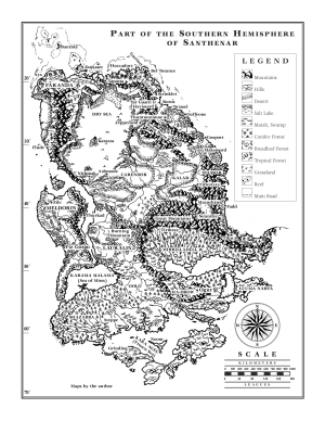 A map of the continent of Lauralin on the world of Santhenar, setting of Ian Irvine's Three Worlds novels