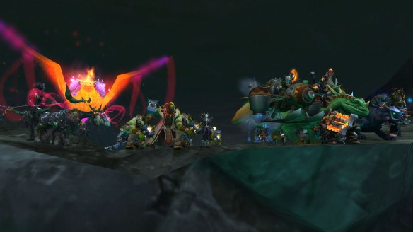 The forces of the Horde rally on the Broken Shore in World of Warcraft