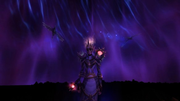 My Blood Elf priest showing off shadow fom in World of Warcraft: Legion