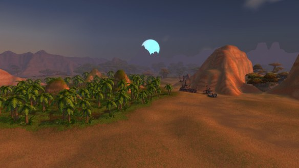Moonrise over the Barrens in World of Warcraft