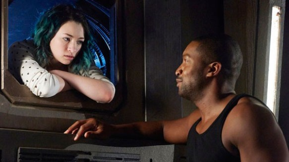 Five (Jodelle Ferland) and Six (Roger Cross) in Dark Matter