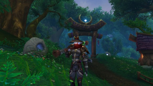 My monk posing with Fu Zan, the Wanderer's Companion in World of Warcraft: Legion