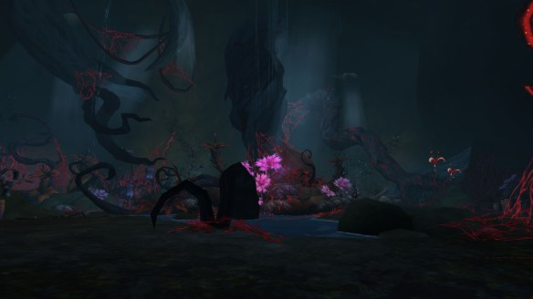 A cave in the Val'sharah zone in World of Warcraft: Legion