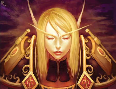 Art of a Blood Elf paladin from the Warcraft universe