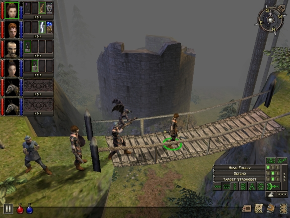 A party of adventurers approaches Wesrin Cross in Dungeon Siege