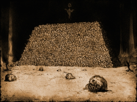 A pyramid of skulls built by the Myrkridia in the Myth games