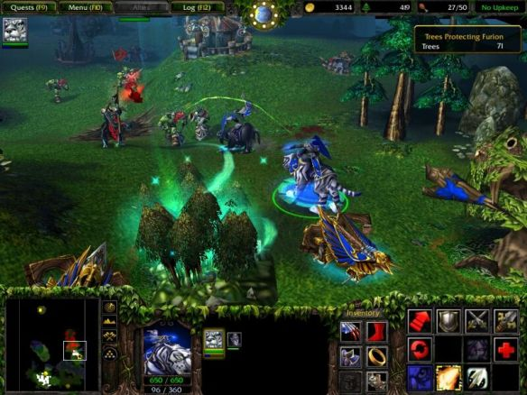 A mission from the Night Elf campaign in Warcraft III: Reign of Chaos