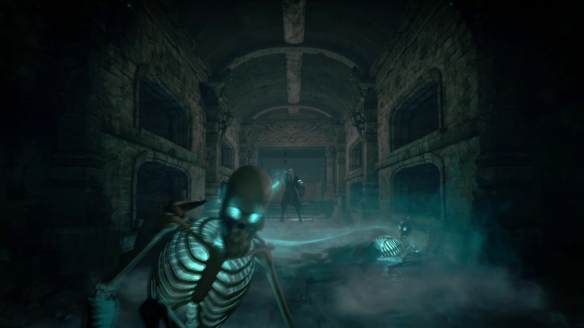 A shot from the announcement video for Diablo III's new necromancer class