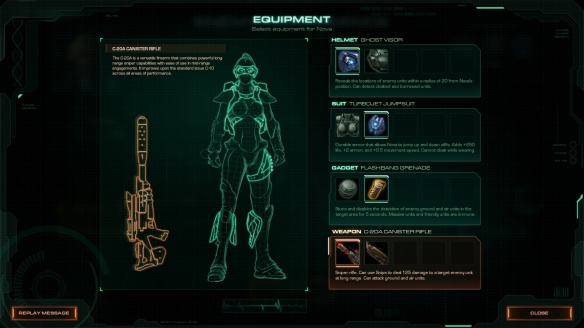 Choosing equipment in StarCraft II's Nova Covert Ops DLC