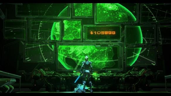 A cutscene from StarCraft II's Nova Covert Ops DLC