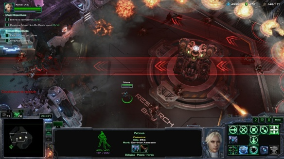 A boss fight in StarCraft II's Nova Covert Ops DLC