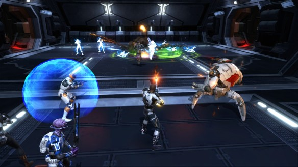 My trooper battling alongside his companions in Star Wars: The Old Republic
