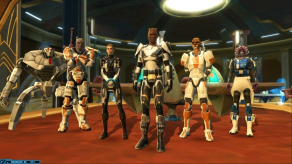 My trooper and his companions in Star Wars: The Old Republic