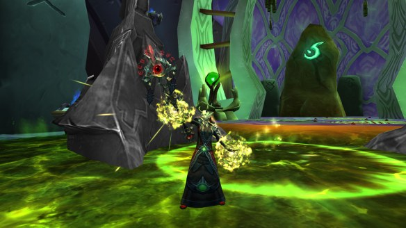 My warlock wielding the Scepter of Sargeras in World of Warcraft: Legion