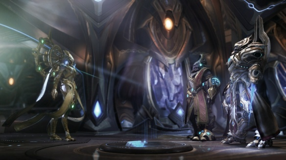 Karax and Artanis encounter Grand Preserver Rohana in StarCraft II: Legacy of the Void