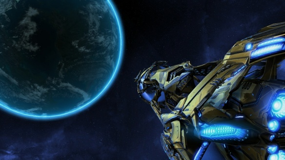 The Spear of Adun approaches a planet in StarCraft II: Legacy of the Void