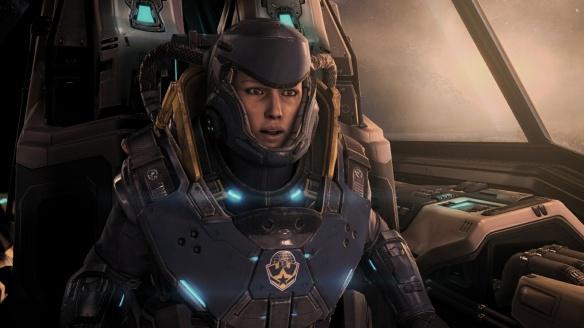 A Defenders of Man viking pilot in StarCraft II's Nova Covert Ops DLC