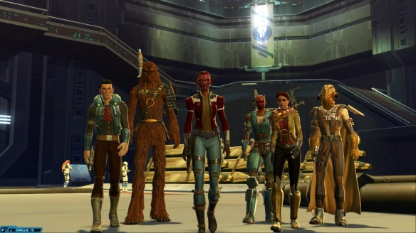 My smuggler and her companions at the conclusion of the class story  in Star Wars: The Old Republic