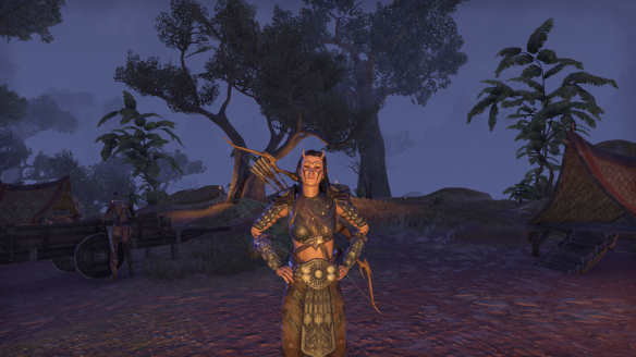 My Bosmer sorcerer models the medium Minotaur chest armour in Elder Scrolls Online