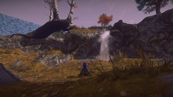 My character reclining by a waterfall on another person's build in Landmark