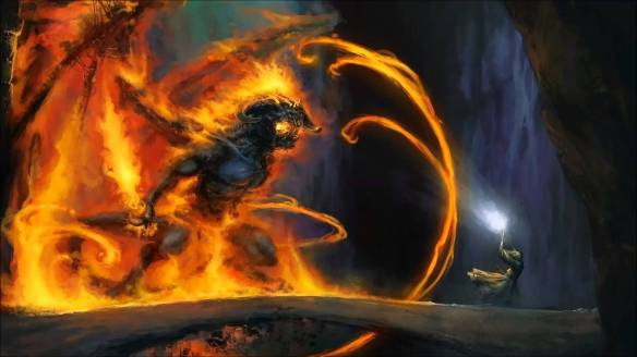 Art of Gandalf battling the Baelrog in Lord of the Rings
