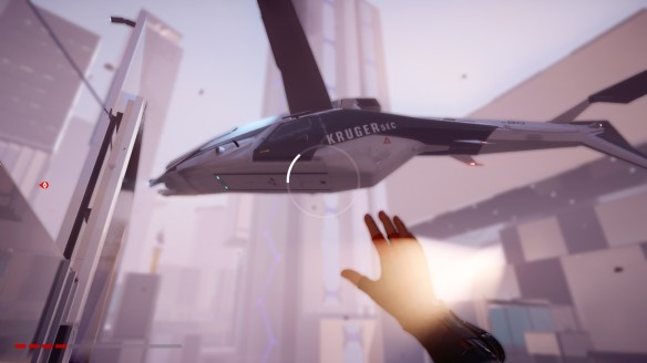 A VTOL helicopter in Mirror's Edge Catalyst