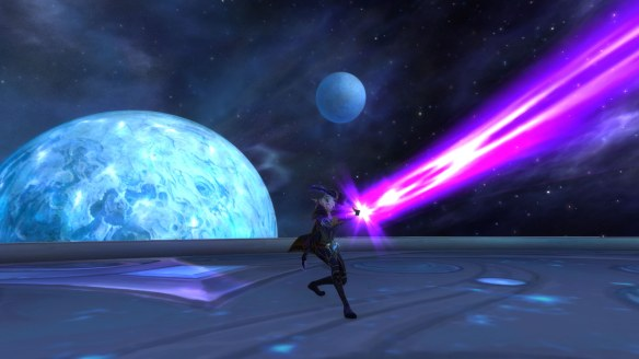 My warlock battling Star Augur Etraeus in World of Warcraft: Legion