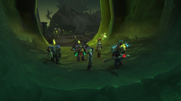 A random group of players wait for a world quest objective to spawn in World of Warcraft