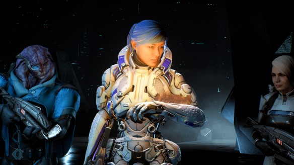 Sara Ryder, Jaal, and Cora Harper in Mass Effect: Andromeda