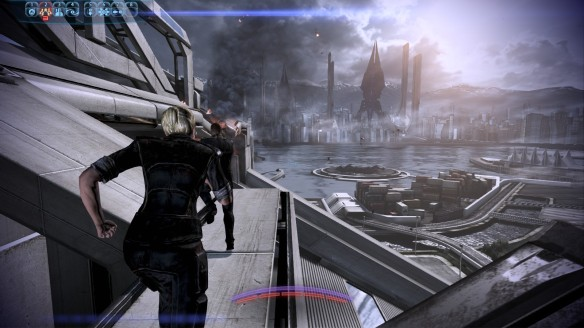 The Reapers descend on Earth in Mass Effect 3