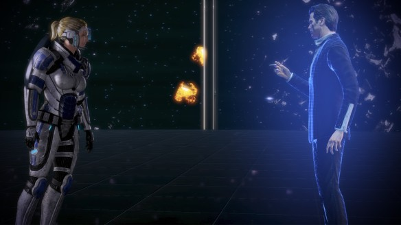 Commander Shepard confronts the Illusive man in Mass Effect 3