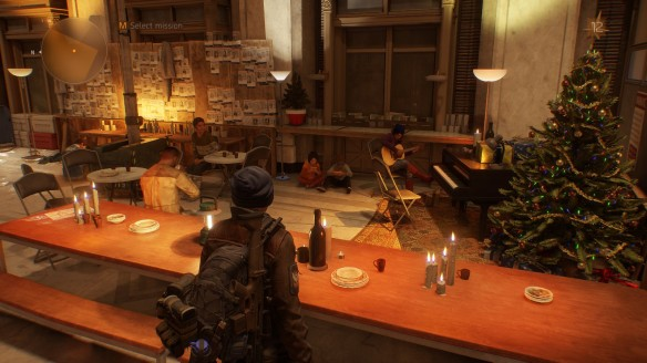 A rescued musician plays for the survivors in The Division