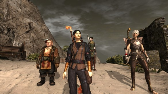 My mage Hawke and her party in Dragon Age II