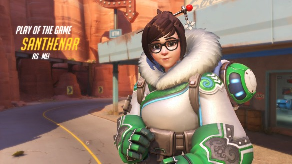 I earn Play of the Game as Mei in Overwatch