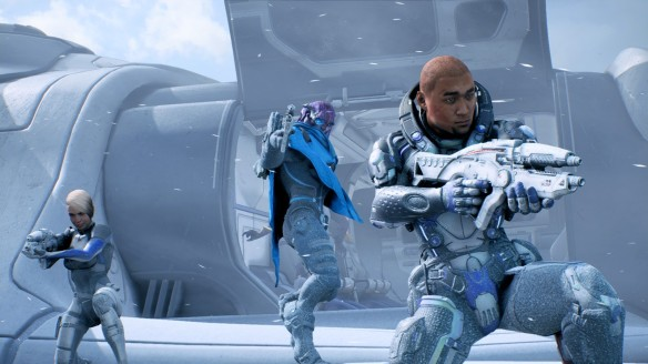 My second Ryder fighting alongside Cora and Jaal in Mass Effect: Andromeda