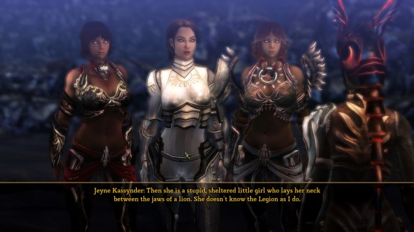 Jeyne Kassynder in Dungeon Siege III. Ah, Jeyne, we hardly knew ye
