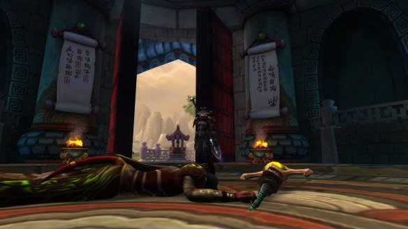 My monk surveys her grim handiwork in World of Warcraft