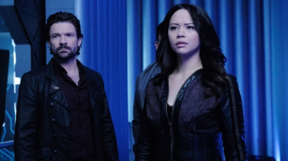 "Two and Victor in the Dark Matter episode ""Built, not Born"""