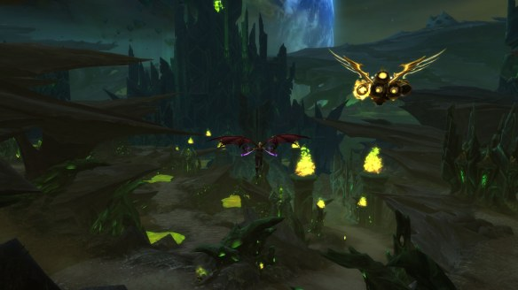 My demon hunter soars over Argus in World of Warcraft