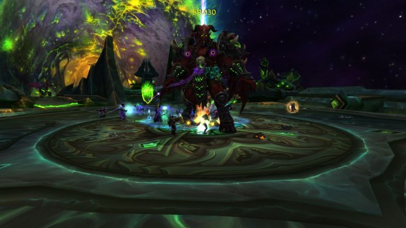 Fighting Kil'Jaeden within the Tomb of Sargeras in World of Warcraft