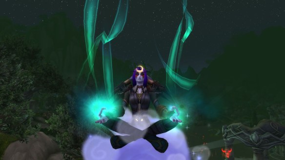 My monk using the Zen Flight ability in World of Warcraft