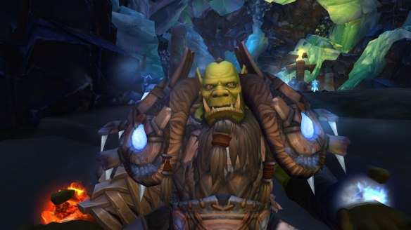 A close-up of my Orc shaman's face in World of Warcraft: Legion