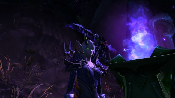My warlock shrouded in darkness by the Inky Black Potion in World of Warcraft