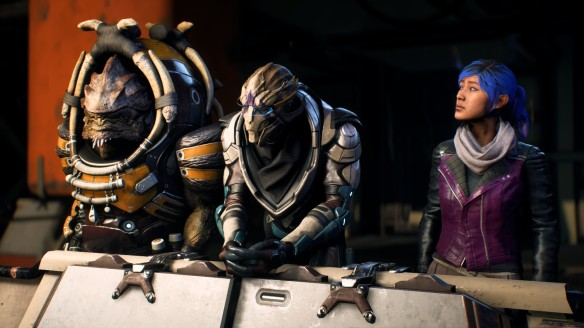 Sara Ryder, Nakmor Drack, and Vetra Nyx take in Kadara Port in Mass Effect: Andromeda