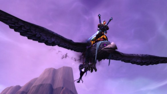 My rogue on her class mount in World of Warcraft