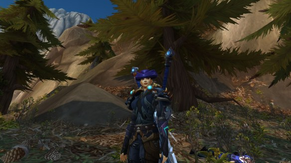 My rogue shows off her fancy new hat in World of Warcraft