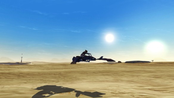 My knight rides a speeder across Tattooine in Star Wars: The Old Republic