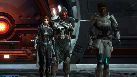 My Jedi knight, Kira Carsen, and Lord Scourge in Star Wars: The Old Republic