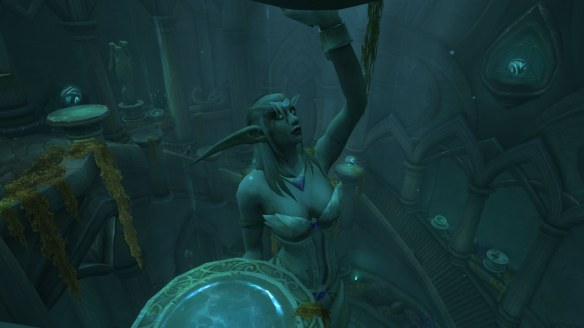 A statue of Azshara in the Tomb of Sargeras raid in World of Warcraft