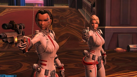Mako and my bounty hunter in Star Wars: The Old Republic